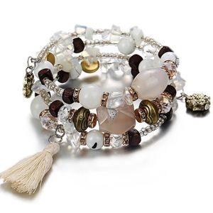 Boho White Resin Stone Bracelet!